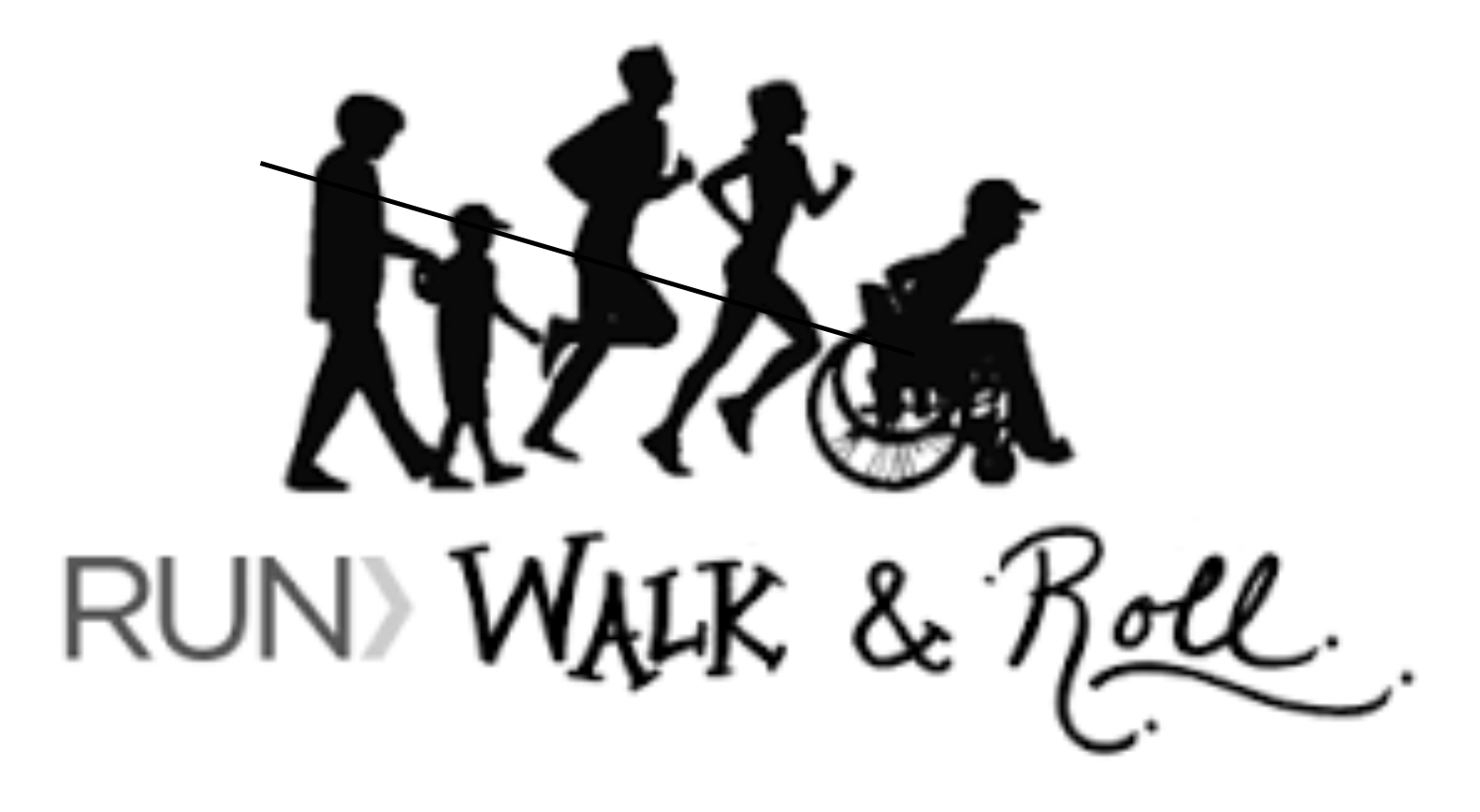 black and white graphic of people of five people, adults and children, one in a wheelchair participating in walk, run and roll event!
